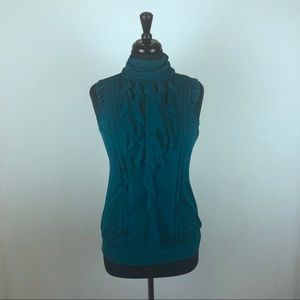 The Limited Ruffle Mock Neck Teal Tank Top